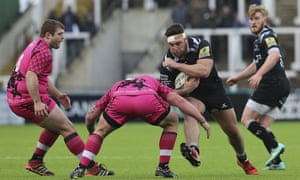 Kieran Brookes, second right, charges through the London Welsh defence for Newcastle at the weekend.