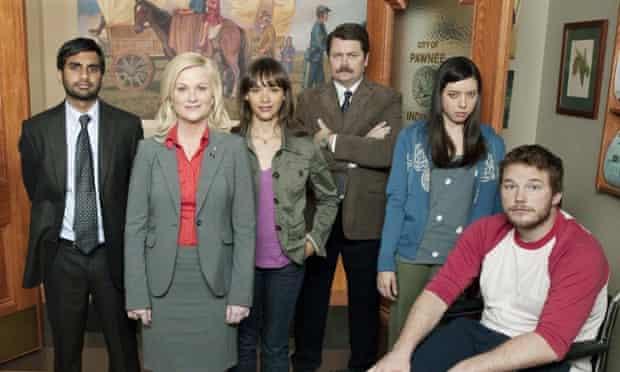 Parks and Recreations cast (L-R) Aziz Ansari, Amy Poehler, Rashida Jones, Nick Offerman, Audrey Plaza, Chris Pratt