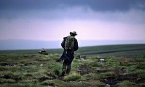 A man walks through the Yorkshire Dales