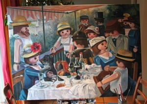 Work in progress - Le déjeuner des canotiers. Interpretation of Luncheon of the Boating Party an 1882 painting by French impressionist Pierre-Auguste Renoir