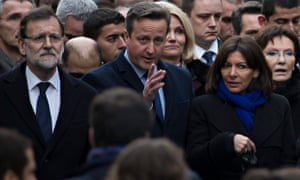 David Cameron, Spanish PM Mariano Rajoy and Mayor Anne Hidalgo march in Paris