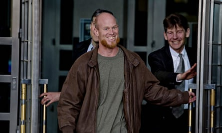 Eric McDavid walks out of the Federal Courthouse in Sacramento after being released from prison