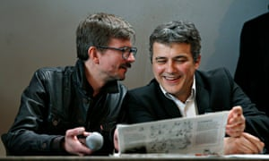 Charlie Hebdo caricaturist Luz (left) and journalist Patrick Pelloux at a press conference