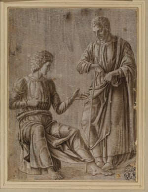 Two men in conversation by Francesco Squarcione.