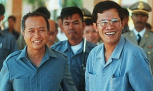 Co-prime ministers Norodom Ranariddh, left, and  Hun Sen after election results forced them into an uneasy coalition.