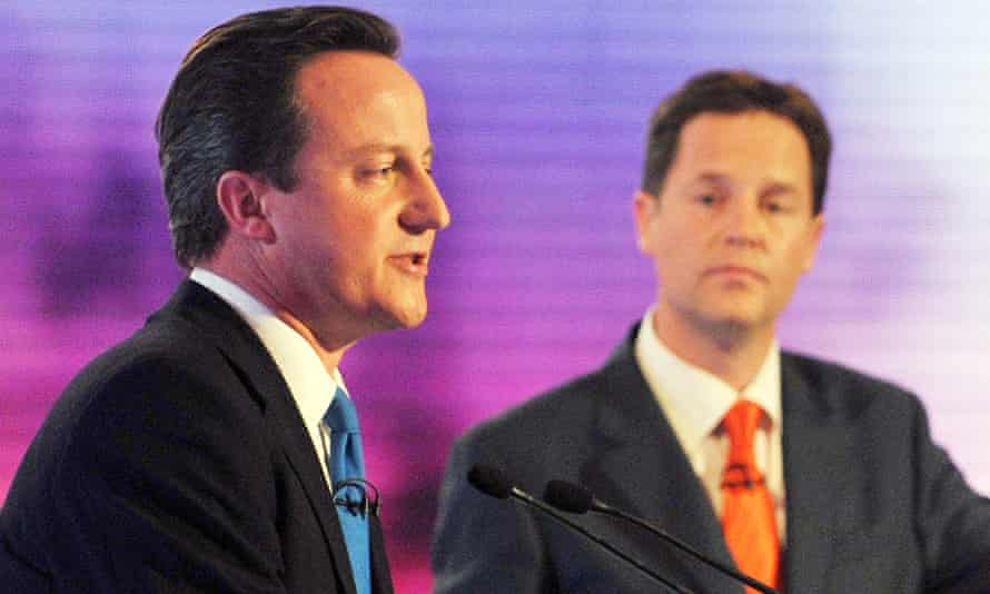 David Cameron and Nick Clegg during the third and final 2010 election debate.