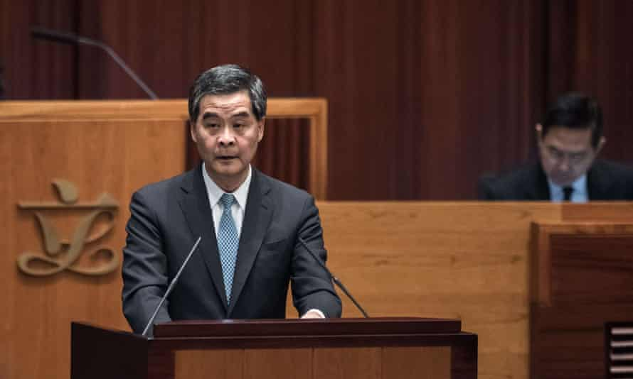 Leung Chun-ying delivers his annual policy address
