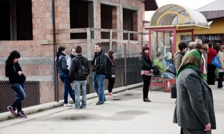 People waiting outside a labour office in Limanowa, near Krakow.