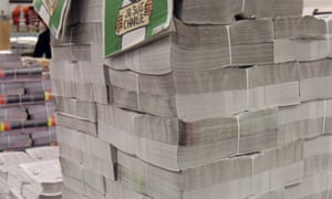 Copies are stacked at a distribution centre in Nantes