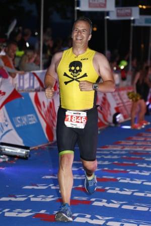 Dougie Cameron finishing an Iron Man event