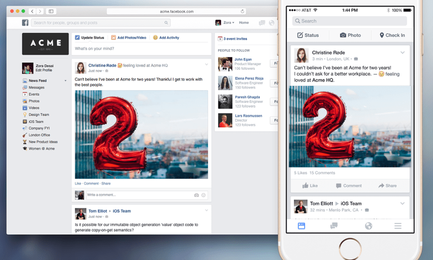 Facebook at Work is launching for iOS and Android initially.