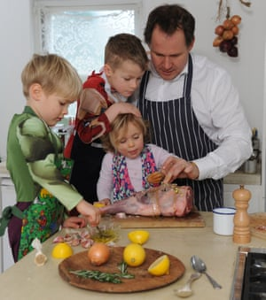 Henry and co cooking lamb leg