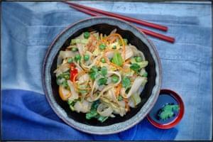 Stir Fried Flat Rice Noodles With Omlette, Leeks, Peas, Carrot & ChilliesUyen LuuFood Stylist - Marie-Ange LapierreProp Stylist - Pene Parker