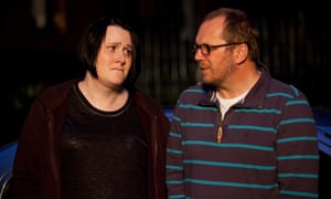 Bethany Black as Helen and Dean Andrews as Alan.