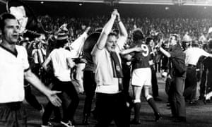 Celebrating winning the 1972 European Cup Winners' Cup final against Dynamo Moscow.