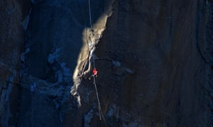 Kevin Jorgeson ascends the rope to pitch 17