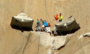 Tommy Caldwell and Kevin Jorgeson set up camp as they begin what has been called the hardest rock climb in the world