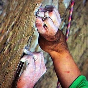 Kevin Jorgeson grips the surface of the Razor Edge