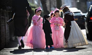 Orthodox Jews in north London celebrate Purim