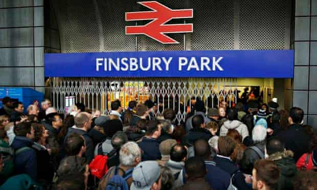 Crowds Finsbury Park station in north London