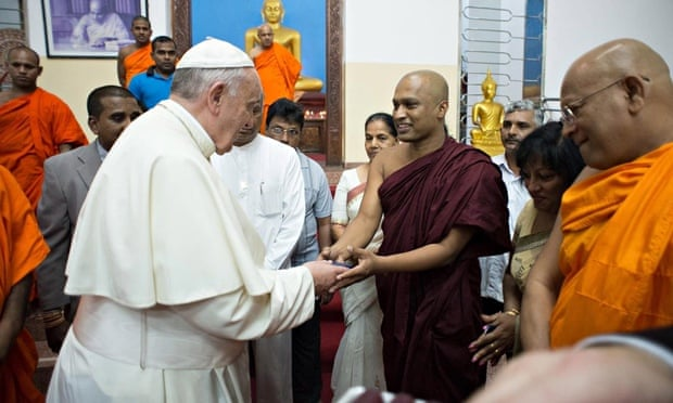 Pope Francis visits the Agrashravaka temple in Colombo