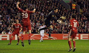 Braga's goalkeeper loses control of the ball against Liverpool, 2011. But where is it?