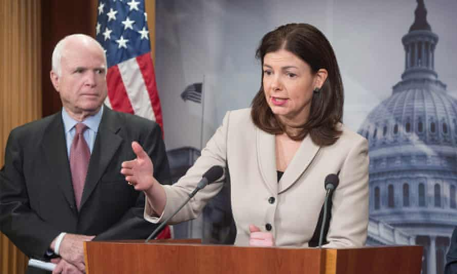 Republican Senator John McCain with colleague Kelly Ayotte, who has introduced legislation to increase limitations on the transfer or release of  Guantánamo Bay captives.