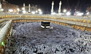 Muslim pilgrims circle the Kaaba and pray at the Grand Mosque during the annual pilgrimage to Mecca.