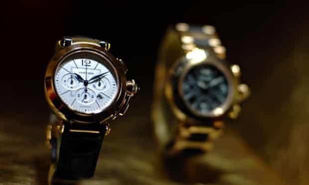 A Cartier watch on display in Switzerland