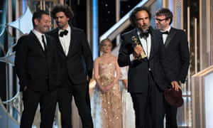 Alejandro Gonzalez Inarritu with his best screenplay prize at the Globes.