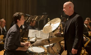 Giving it some stick … Miles Teller as the drum student and JK Simmons as his teacher in Whiplash.