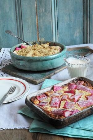 rhubarb crumble and a rhubarb clafoutis