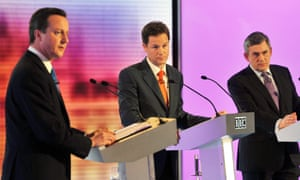 David Cameron, Nick Clegg and Gordon Brown during the 2010 leaders' debate. 'I thought I did rather well, dare I say it myself,' said Clegg on Thursday. 'Those were the days.'