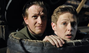 Jamie Parker as Guildenstern and Samuel Barnett as Rosencrantz in  Rosencrantz and Guildenstern directed by Trevor Nunn at London's Theatre Royal Haymarket.