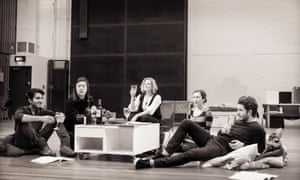 Members of the National Theatre rehearse Stoppard's new play A Hard Problem.