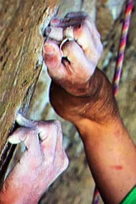 Kevin Jorgeson grips the surface of the Razor Edge during the free climb of El Capitan.