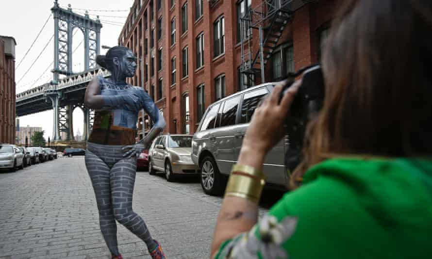 Jessica Mellow poses for artist Trina Merry in the Dumbo neighborhood, New York, formerly known as Fulton Landing.