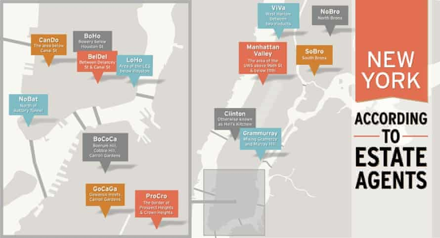 New York City neighbourhood rebranding map