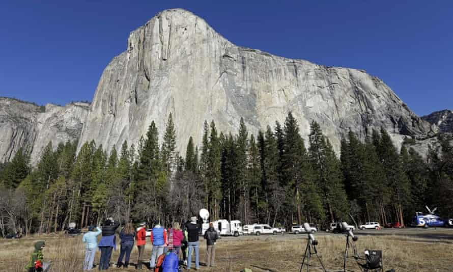 The view from below El Capitan as climbers Tommy Caldwell and Kevin Jorgeson became the first to free-climb Dawn Wall.
