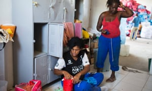 Sebastiana Pimenta, left, after a day's work at the new Valter dos Santos recycling cooperative. Photograph: Lianne Milton