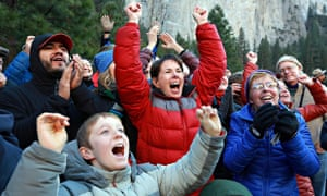 The families of Tommy Caldwell and Kevin Jorgeson cheer as they reach the summit of Dawn Wall