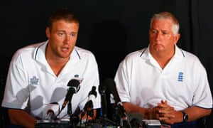 Andrew Flintoff offers his apology sat next to Duncan Fletcher in St Lucia.