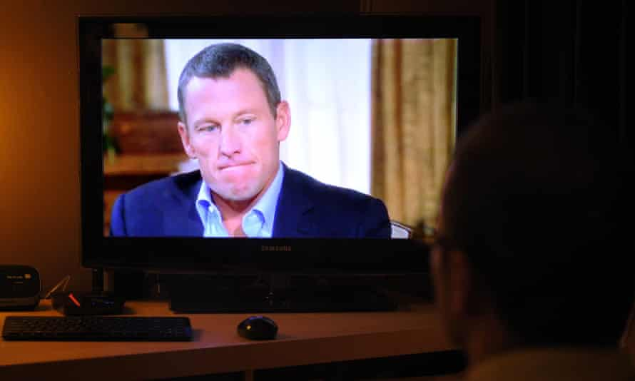Disgraced cyclist Lance Armstrong in his televised interview with Oprah Winfrey in January 2013.