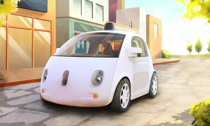 An artistic sketch of Google's prototype of a self-driving car.  Photograph: Google/Hando