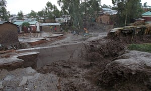 Destruction caused by flooding on the outskirts of Blantyre. The south of Malawi has been declared a disaster zone.
