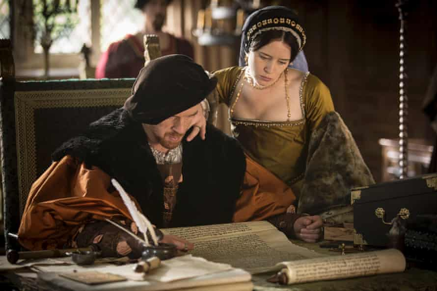 Damian Lewis and Claire Foy asKing Henry VIII and Anne Boleyn in BBC2's Wolf Hall.