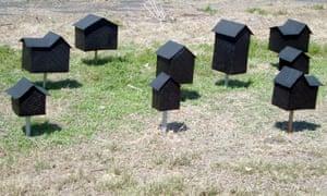 Art exhibit depicting houses in Australia