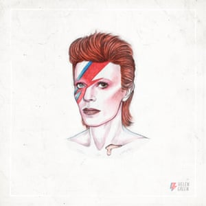 "1973 ""Here Bowie is in the iconic 'Aladdin Sane' makeup by Pierre La Roche."" David Bowie Helen Green 1973"