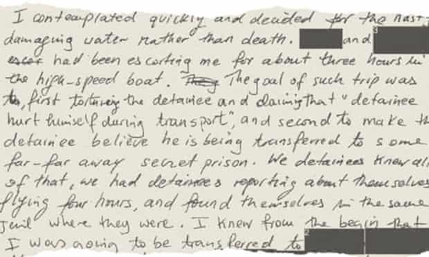 Mohamedou Ould Slahi's manuscript - description of the boat trip