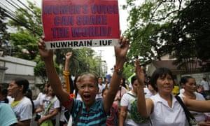 Filipino women call for reproductive rights outside supreme court in Manila